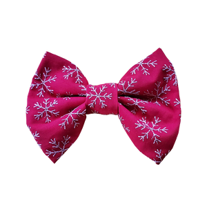 Holiday Print Dog Bow Tie in Red Embroidered Snowflakes Print