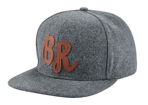 BR - Cap, Gray Wool w/ Brown BR