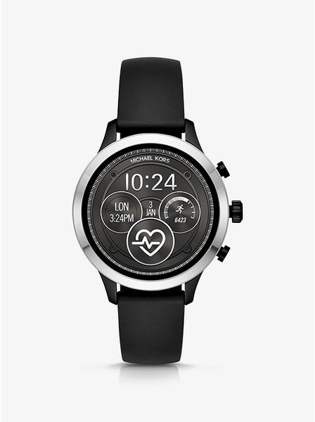 Michael Kors Runway Heart Rate Silver-Tone and Silicone Smartwatch