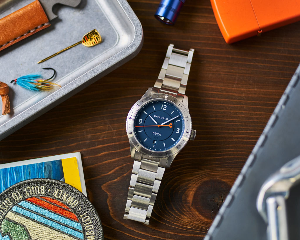 Oak & Oscar Humboldt 12-hour Navy Dial on Steel Bracelet
