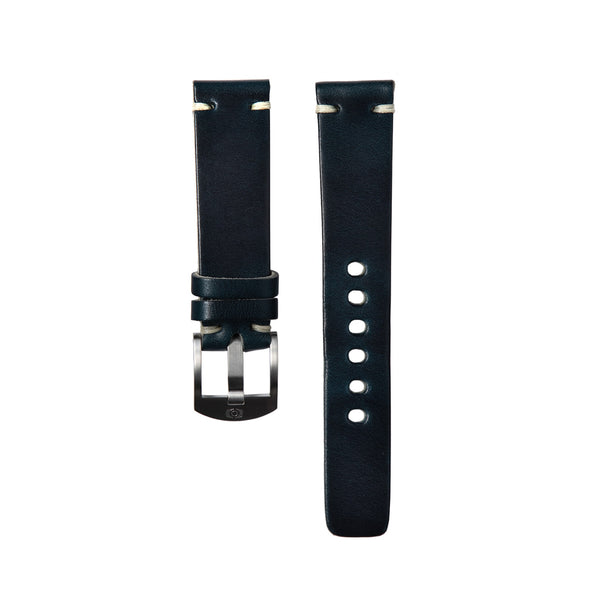 Navy Blue Leather Strap - 20mm-Oak & Oscar