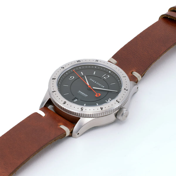 The Humboldt - Grey on Leather-Oak & Oscar