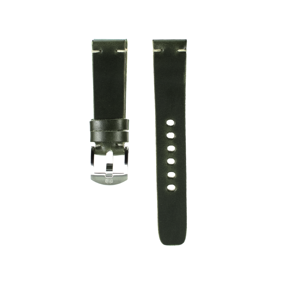Dark Green Leather Strap - 20mm