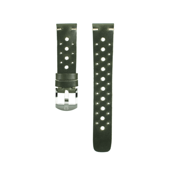 Dark Green Leather Rally Strap - 20mm
