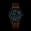 The Olsmsted Matte watch with a leather band glows in the dark