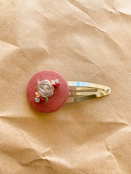 Embroidered Rose snap clip