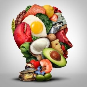 Collection of healthy foods arranged in the shape of a human head