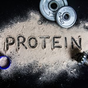The word protein written in brown powder next to 1kg and 0.5kg plates