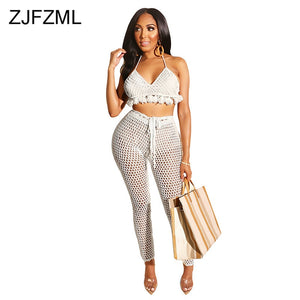 Knitted Crochet 2 Piece Outfits For Women Summer Clothes