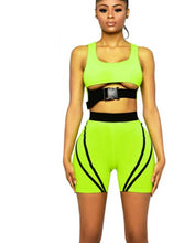 Load image into Gallery viewer, 2019 summer women neon green stripe lines tracksuit