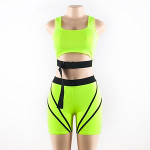 2019 summer women neon green stripe lines tracksuit