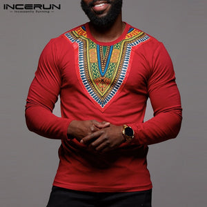 Fashion Long Sleeve Men T Shirt African