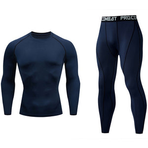 Men's Compressed Long Sleeve Shirt Pants Shorts Fitness