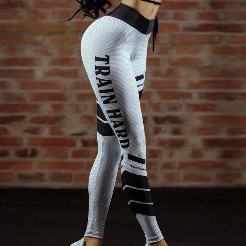 Women Fitness Leggings ashion Mesh Print Leggings Workout Leggins Elastic Slim Pants