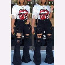 Load image into Gallery viewer, High Waist Flare Jeans Black Female Bell Bottom ripped Jeans