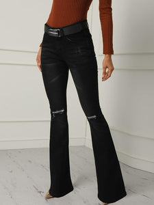 High Waist Flare Jeans Black Female Bell Bottom ripped Jeans