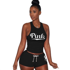PINK Letters Print Tank Top Shorts Suit Two Piece Set