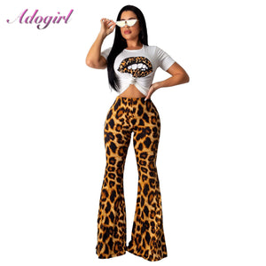 Leopard Print Two Piece Set Women Casual Short Sleeve T-Shirt Crop Top + High Waist Flare Pants Suit