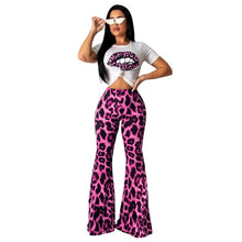 Load image into Gallery viewer, Leopard Print Two Piece Set Women Casual Short Sleeve T-Shirt Crop Top + High Waist Flare Pants Suit