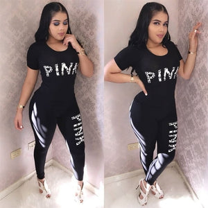 Pink Women Tracksuit Letters Print Top and Long Pants 2 Piece Set
