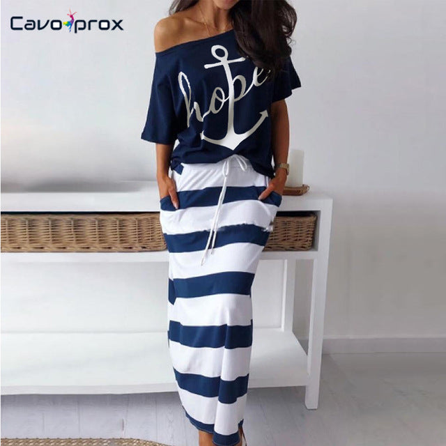 Women Two Piece Matching Sets Boat Anchor Print Short Sleeve Top T-shirt  & Striped Ankle-length Skirt Sets Casual Suits