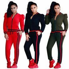 Load image into Gallery viewer, 2 Pcs Women Pure color Long sleeves  Round collar zipper Hoodies Sweatshirt Pants Sets