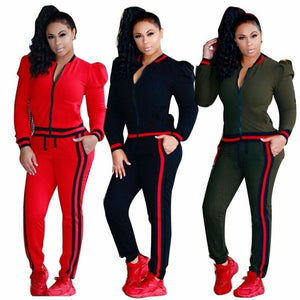 2 Pcs Women Pure color Long sleeves  Round collar zipper Hoodies Sweatshirt Pants Sets