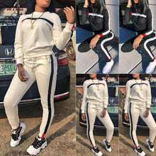 Load image into Gallery viewer, 2 Pcs Women Sports Crop Tops Pants Tracksuit