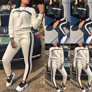 2 Pcs Women Sports Crop Tops Pants Tracksuit