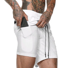 Load image into Gallery viewer, double-layer breathable men's fitness sweat-absorbing and quick-drying outdoor fitness casual jogging shorts