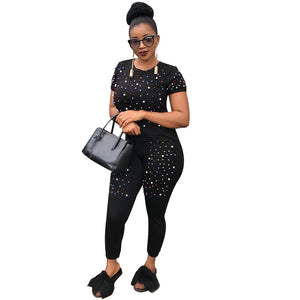 Two Piece Tracksuit Women Fashion Pearls Beading