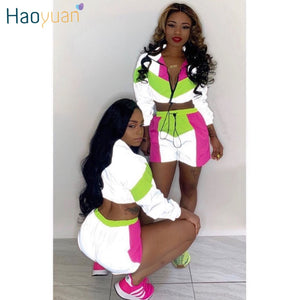 Fashion Patchwork Street Women 2pcs Tracksuit Reflective