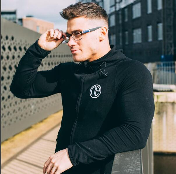 Men's motion Bodybuilding Jogging zipper hoodie