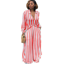 Load image into Gallery viewer, Striped Print Two Piece Set Shirts+pants