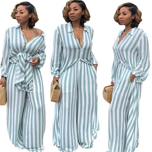 Striped Print Two Piece Set Shirts+pants