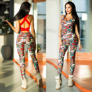 2018 Cross Bandage Rose Floral Prints Backless Sporting Femme Bodysuit Playsuit Overalls Sexy Tights Fitness Women Jumpsuits
