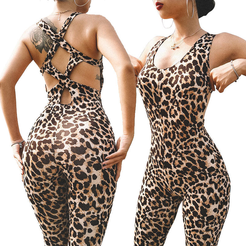 2018 Gift Leopard Print Cross Bandage Hollow Out  Sporting Femme Bodysuit Playsuit Overalls Sexy Tights Fitness Women Jumpsuits