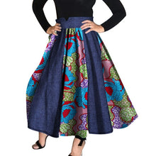 Load image into Gallery viewer, 2018 Women African Clothing Bazin Riche High Waist Skirts Dashiki African Print Cowboy Patchwork Tutu Skirts Clothes WY959