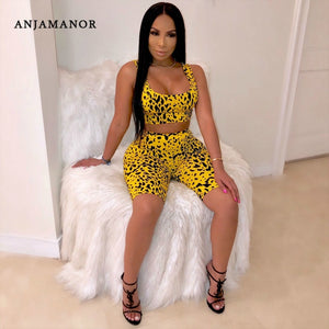 Yellow Leopard Print Sexy Two Piece Set Top and Pants Matching Short Sets for Women
