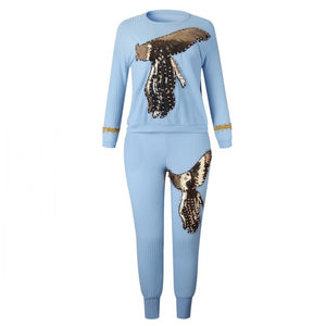 2019 winter Spring long sleeve tracksuit Sportswear Office phoenix Sequined Sweatshirt+ pant 2pcs women's set outfits suit AM306