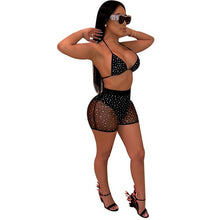 Load image into Gallery viewer, Sheer Mesh Diamonds Night Club Two Piece Set