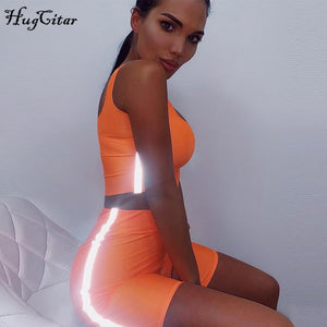 2 pieces set 2019 summer women fashion neon green solid casual sets