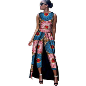 African Clothes for Women 2019 Sleeveless Top and Mid Calf  Trousers 2 Pieces Sets