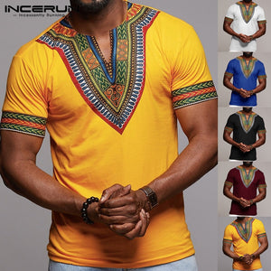Fashion Men T Shirt V Neck Print African Ethnic