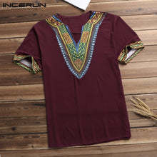 Load image into Gallery viewer, Fashion Men T Shirt V Neck Print African Ethnic