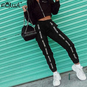 Street wear Black Cargo Sweat pants Women Trousers High Waist