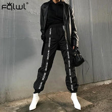 Load image into Gallery viewer, Street wear Black Cargo Sweat pants Women Trousers High Waist