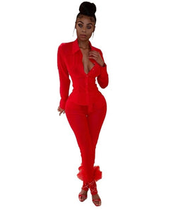 Women Sexy Sheer Mesh Two Piece Set Long Sleeve Shirts Top + Pencil Pants