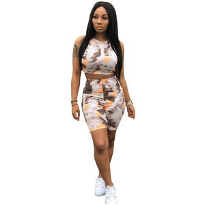 Colorful Tie Dye 2 Piece Matching Sets Summer Clothes For Women