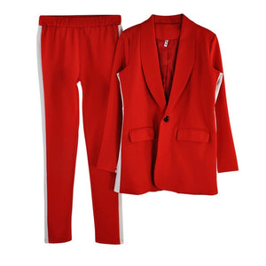 L pant suits work wear single button long blazer jacket and tight pants women's two piece sets